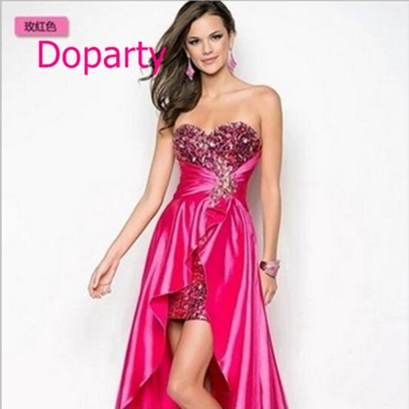 Doparty XS3 long imported high low coral two piece turquoise burgundy gossip girl prom dresses 2017 removable skirt