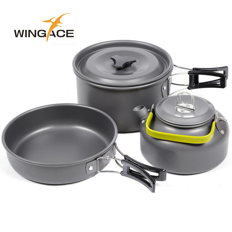 WINGACE Outdoor Camping Cookware Camping Pot Pan Kettle Hiking Set Foldable Outdoor Tableware For Tourism Picnic
