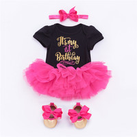 It's My First Birthday Christmas Baby Clothes 4pcs/Sets Tutu Dress Outfit Toddler Girls Clothing Baby Romper Bebes Kids Costume