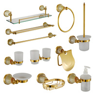 Double Tumbler Holder Luxury Gold Jade Bathroom Hardware Accessory Shower Soap Dish Shampoo Glass Shelf Liquid