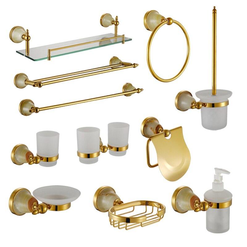 Double Tumbler Holder Luxury Gold Jade Bathroom Hardware Accessory Shower Soap Dish Shampoo Glass Shelf Liquid Dispenser Holder acer liquid jade z