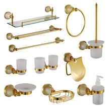 Двойной держатель стакана роскошный золотой нефрит аксессуары для ванной комнаты мыльница для душа шампунь стеклянная полка держатель дозатора для жидкости