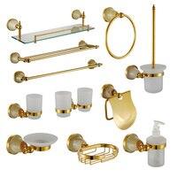 Double Tumbler Holder Luxury Gold Jade Bathroom Hardware Accessory Shower Soap Dish Shampoo Glass Shelf Liquid Dispenser Holder