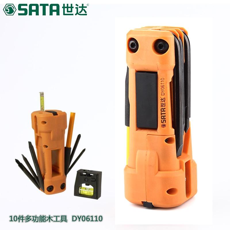 цена на SATA Hardware Tools Multifunctional Wood Phillips Screwdriver, Home Set Horizontal Tape Measure DY06110