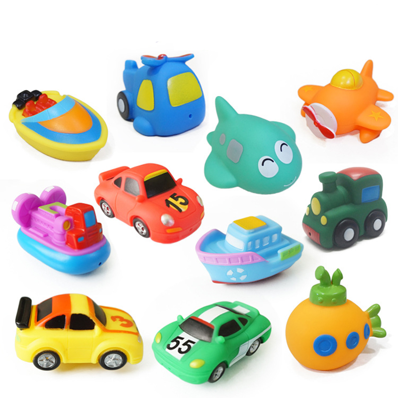 Cold Bath Toy Pool Baby Toy Child Water Colorful Fighter Submarine Train Car Boat Soft Rubber Toy Boy Girl Safety