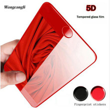 wangcangli 9H 5D Screen Protector For iPhone 7 glass Red full coverage tempered 6 6s screen protection