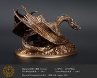 1.3kgs Pure Copper Hobbit Smaug Dragon Bronze Statue Sculpture Smaug The Golden Magnificent Figurine Office Desk Table Decor
