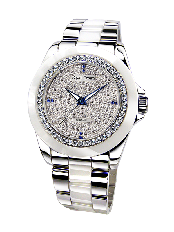 Royal Crown Jewelry Watch 6412M Italy brand Diamond Japan MIYOTA ceramics кольцо royal diamond