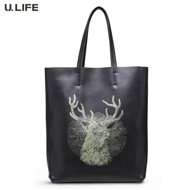 U.LIFE - Top Brand New Simple Elegant Personized Genuine Leather Soft Men's Cluth Bag Handbags Casual Totes J20