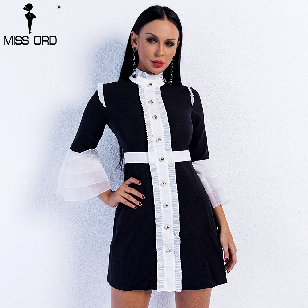 Missord High Neck Flare Sleeve Button Mini Bodycon Dress FT9017