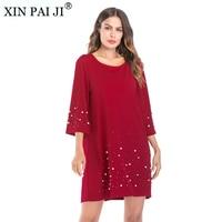 XIN PAI JI Sundress Loose Women's Casual vestidos Half Sleeve O Neck Beaded Red Dresses Party Summer Dress