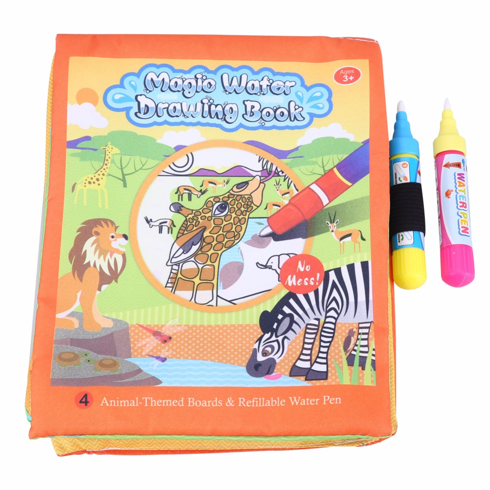 New Water Coloring Drawing Books For Kids With 2 Magic Water Drawing Pen Doodle Mat Learning Educational Toys For Children Gift