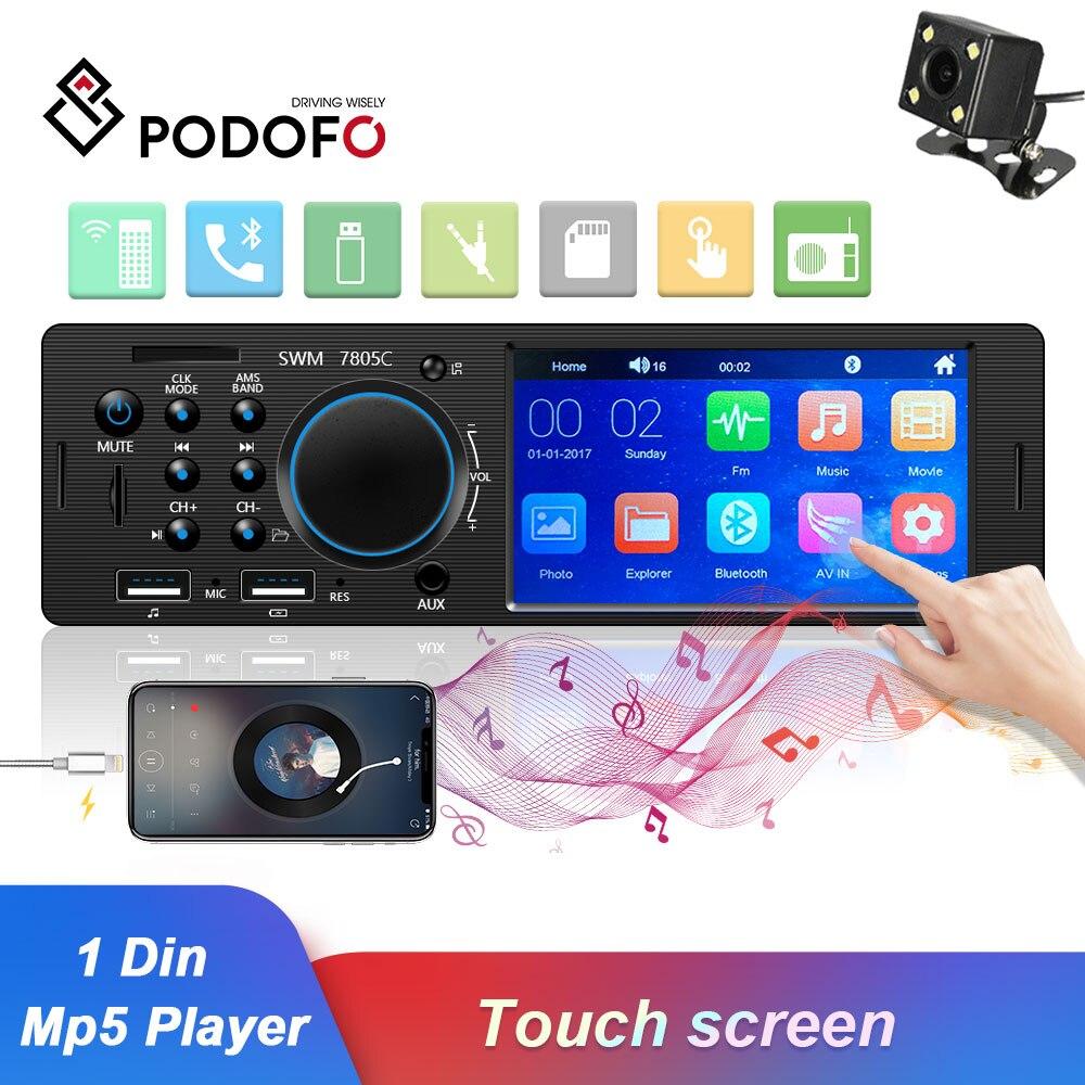 Podofo 1 Din Autoradio FM Autoradio Bluetooth multimédia MP3 MP5 lecteur 4.1 pouces voiture stéréo 12V Auto Audio USB télécommande