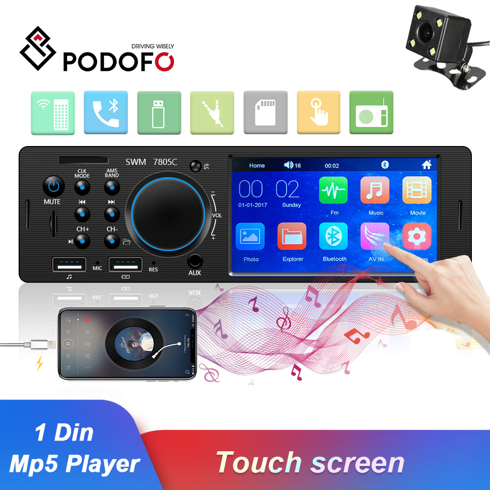 Podofo 1 Din Car Rádio FM Bluetooth Autoradio Multimedia MP3 MP5 Player 4.1