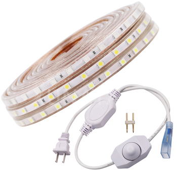 Tira llevada 5050 110 V 120 V impermeable flexible LED cinta de luz al aire libre lámpara de la Secuencia 1 m 2 M 3 M 5 M 10 M 12 M 15 M 20 M 25 M 50 M 60 LEDs/M