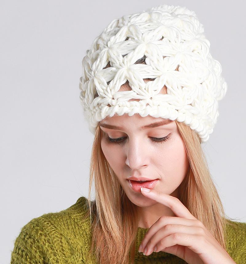 97490a73cef CLIMATE New Women Winter Hat Warm Pompon Beanie Hat Pierced Knitted ...