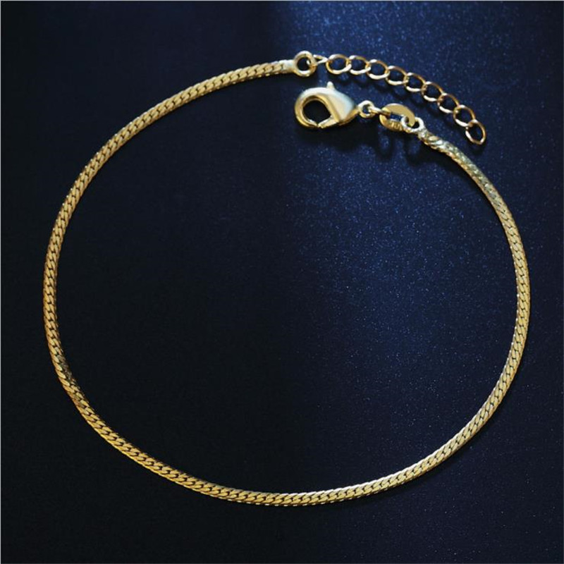TJP 2MM Exquisite Chain Gold Bracelets For Women Jewelry Fashion 925 Sterling Silver Anklets For Girl Party Accessories Female
