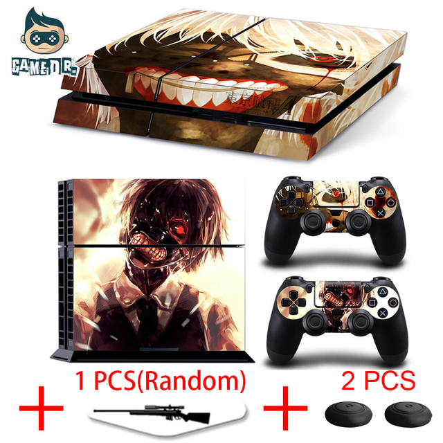 Tokyo Ghoul Vinyl Decal Skin Sticker for Play Station 4 PS4 Console + 2 Controllers Skins + 1 Lightbar Skin