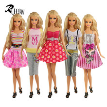 5 Pcs Handmade fashion clothes For Barbie Doll dress baby girl birthday new year present for kids(China)