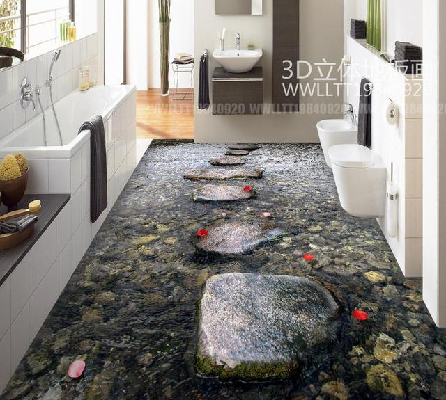 Photo Wall Murals Self Adhesive Wallpaper 3d Flooring Waterproof Wallpaper  For Bathroom Stone Path 3d