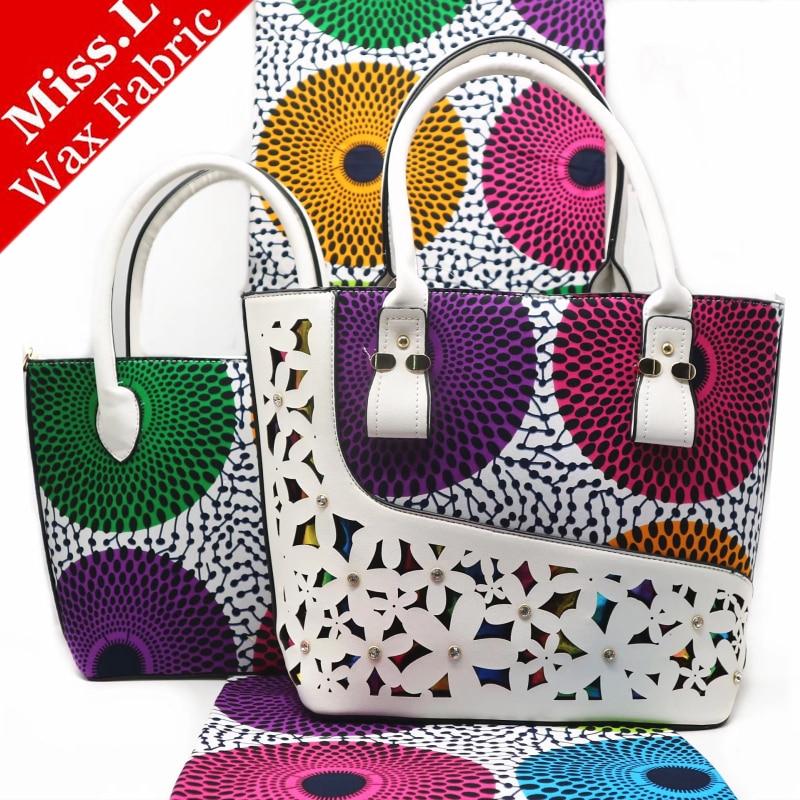 Miss L della donna di Modo di cera della borsa di corrispondenza 6 yards cera eccellente reale hollandais tessuto 3 pezzi/set di alta qualità africano sacchetto di cera