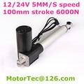Zware Belasting Capaciteit 1230LBS 600KGS 6000N 24 V 40 mm/s snelheid 4 inch 100mm slag DC elektrische lineaire actuator