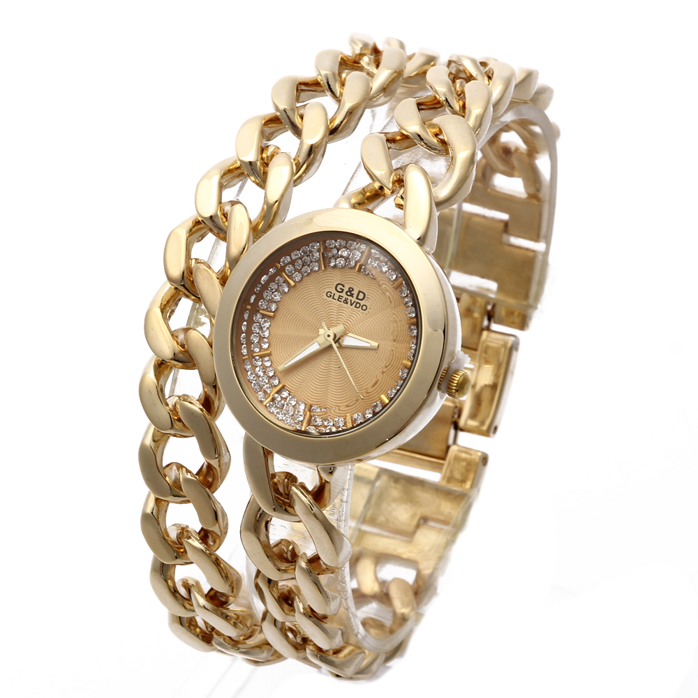 G & D 럭셔리 여성용 팔찌 시계 스테인레스 스틸 여성 쿼츠 손목 시계 숙녀 선물을위한 유행 캐쥬얼 복장 시계