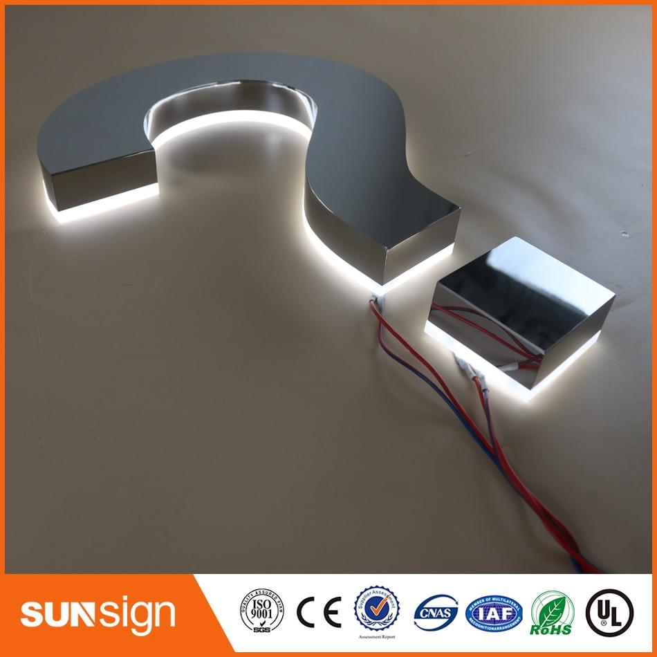 Custom Polished Stainless Steel Led Backlit Letter Signage