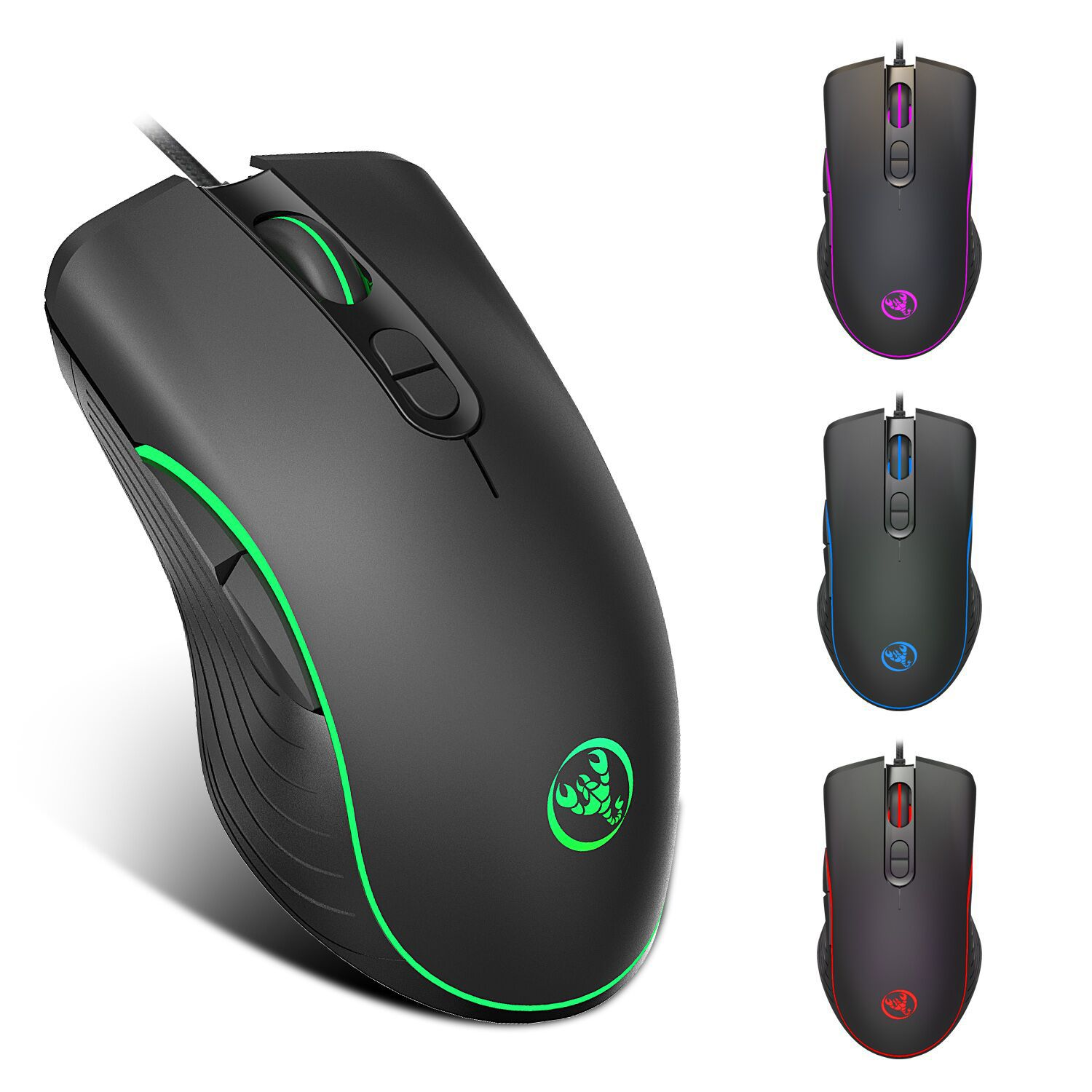 Hongsund RGB mouse 6400dpi Luminous Game Mouse Electric Competing Cable Mouse gaming For LOL CF 1