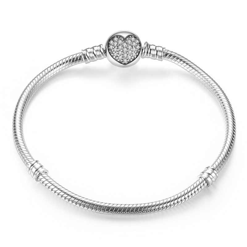 Luxury 100% 925 Sterling Silver Charm สร้อยข้อมือหัวใจลูกปัดพอดีสร้อยข้อมือและกำไลข้อมือสำหรับรักผู้หญิงเครื่องประดับ ZBBS916