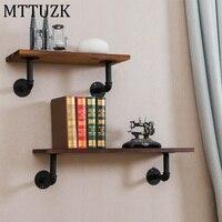 MTTUZK Wrought iron water pipe shelf bookcase wall shelf wall mounted partition board wall hanging rack Wood shelf