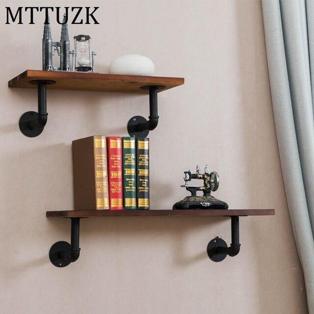 Mttuzk Wrought Iron Water Pipe Shelf Bookcase Wall Shelf Wall