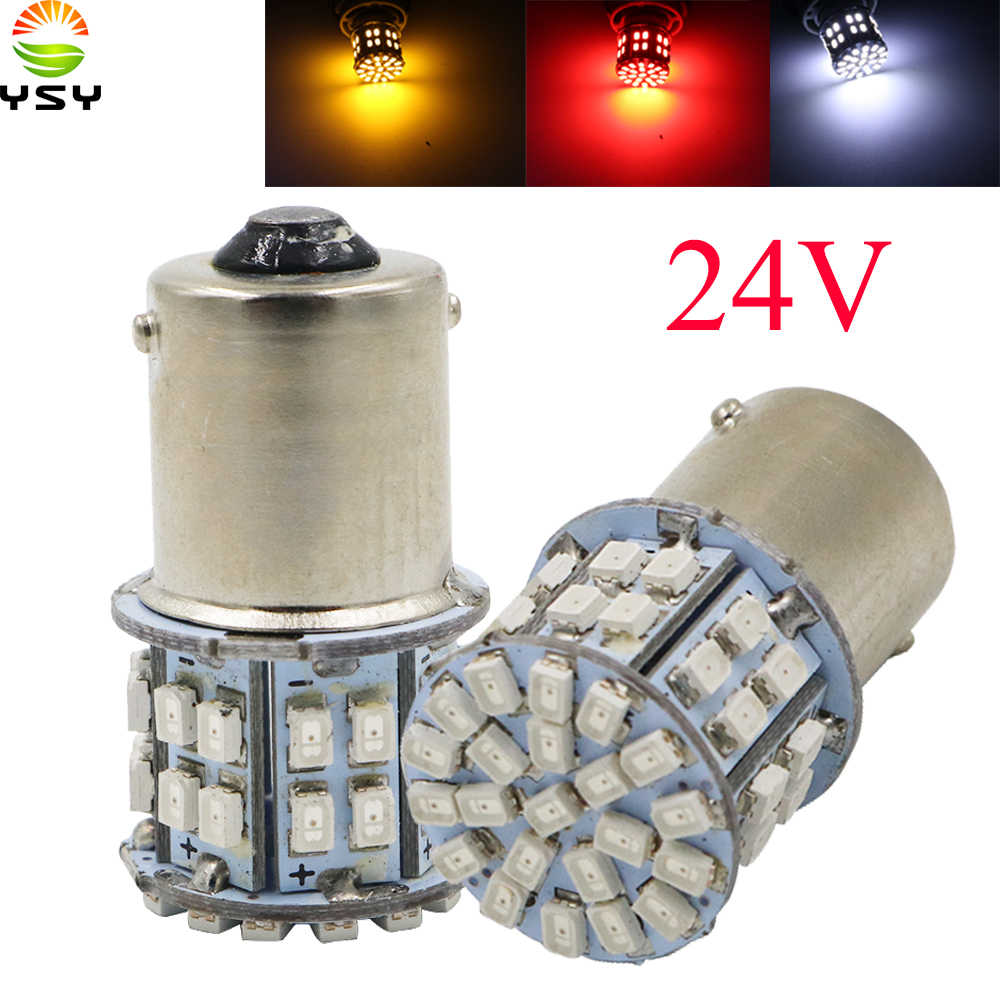 YSY 50X Hight Quality 1156 1206 50 SMD Led Car Light BA15S P21W Auto Light Bulb Lamps Car Styling Parking Lights Red White DC24V