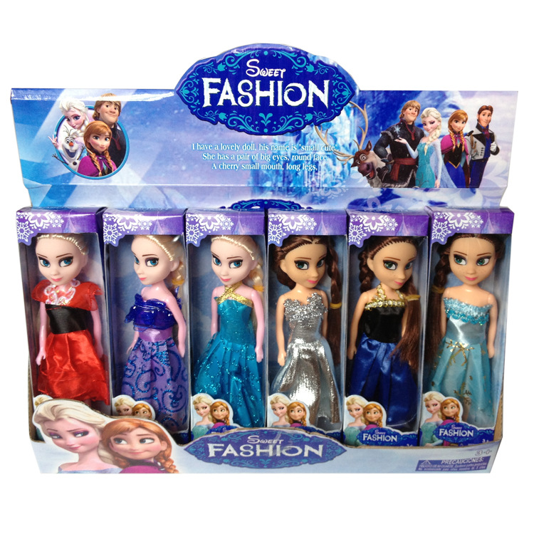 Disney Toys 6 Pcs/Set Anime Cartoon movies Frozen Princess Anna And Elsa Doll 16cm Anna And Elsa Cute Mini Dolls Gift