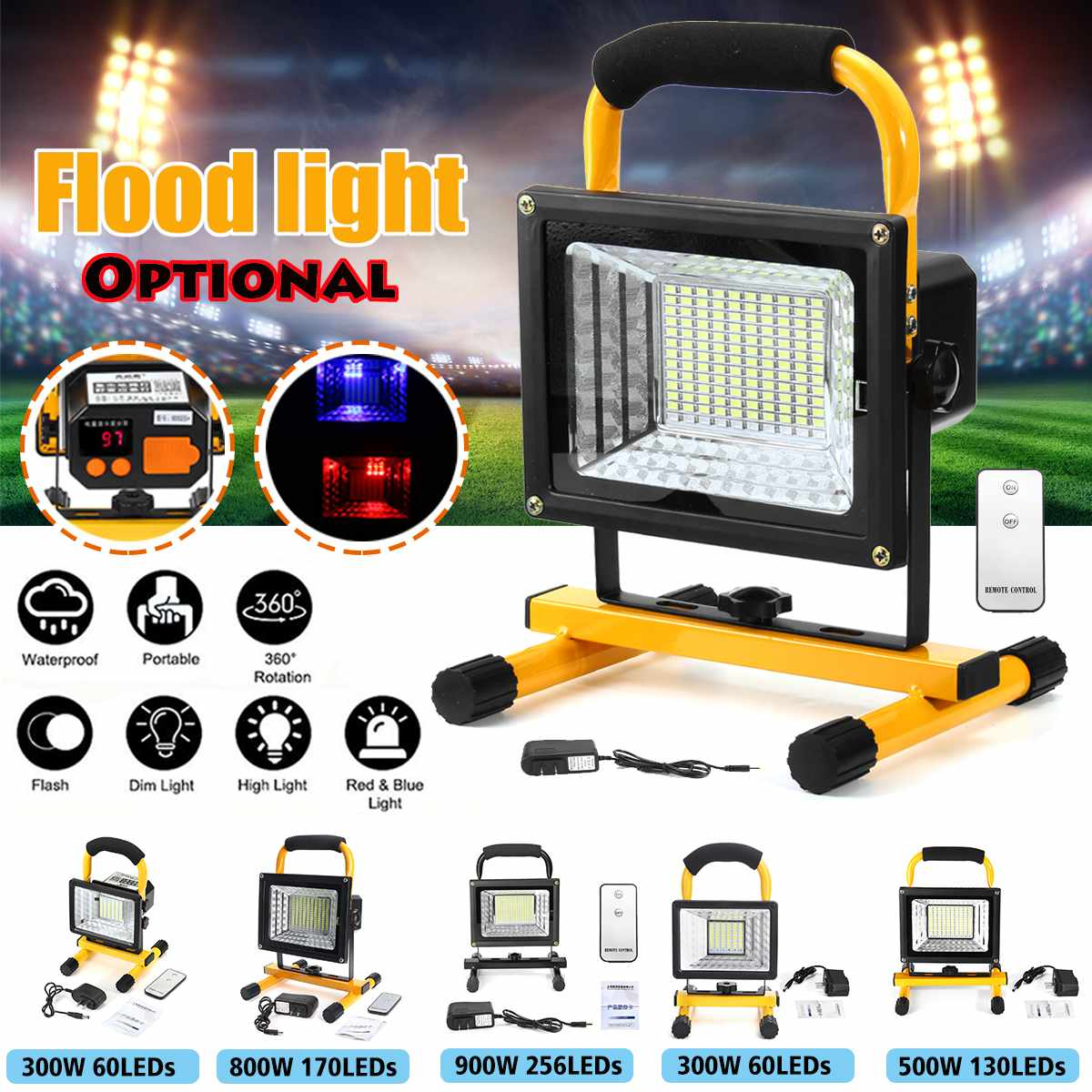 300-900W LED Portable Rechargeable Floodlight Waterproof Spotlight Battery Powered Searchlight Outdoor Work Lamp Camping Hot