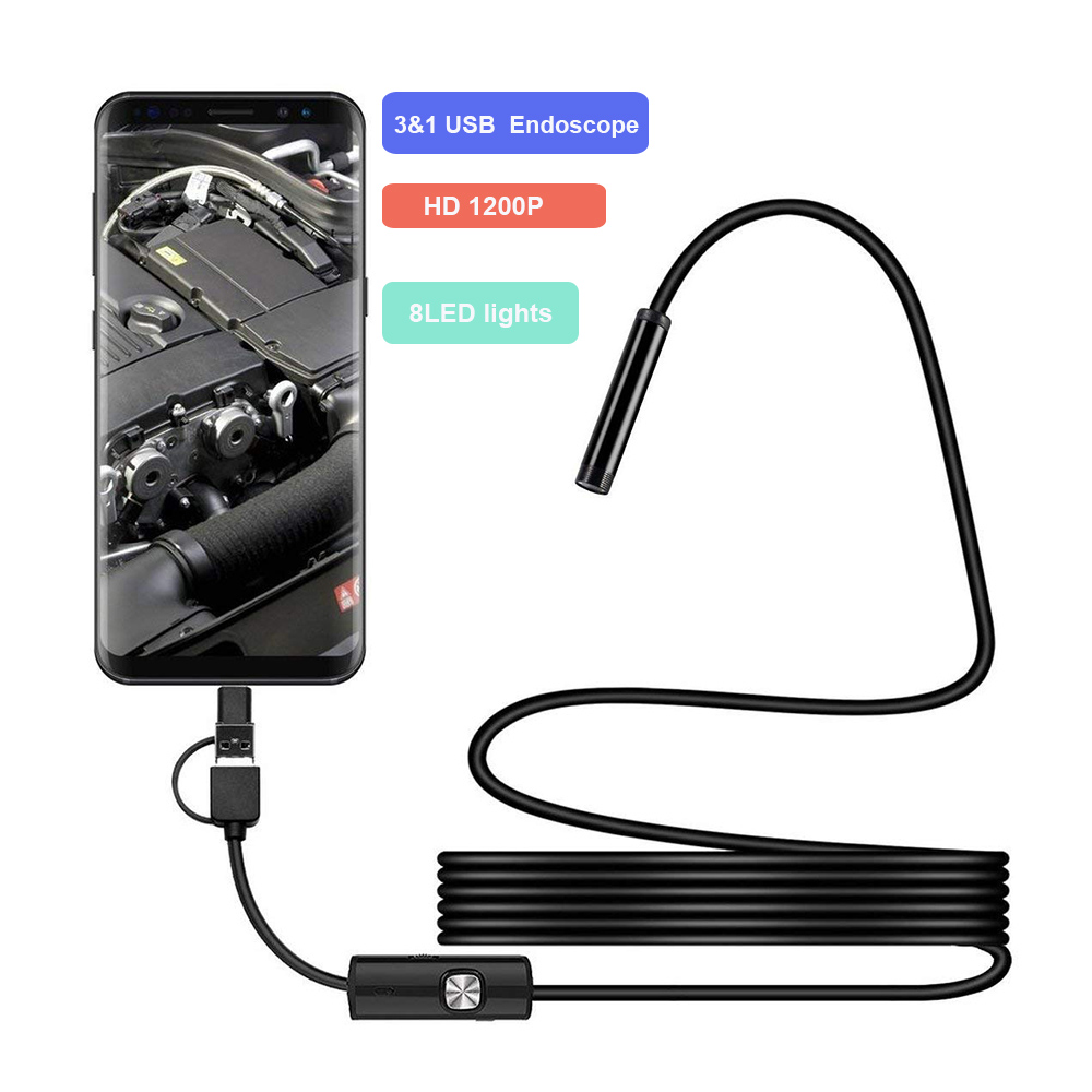 Endoscope Mini-Camera Android-Car Video-Inspection 1200P Tube Hard Snake HD IP68