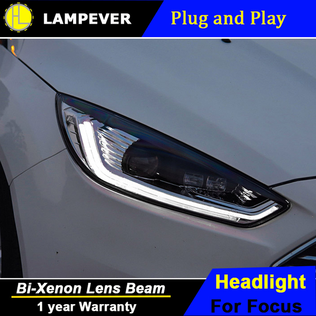 Lampever Head Lamp Case For Ford Focus 3 2017 Headlights Led Headlight Drl Lens Double Beam Bi Xenon Hid Car Accessories