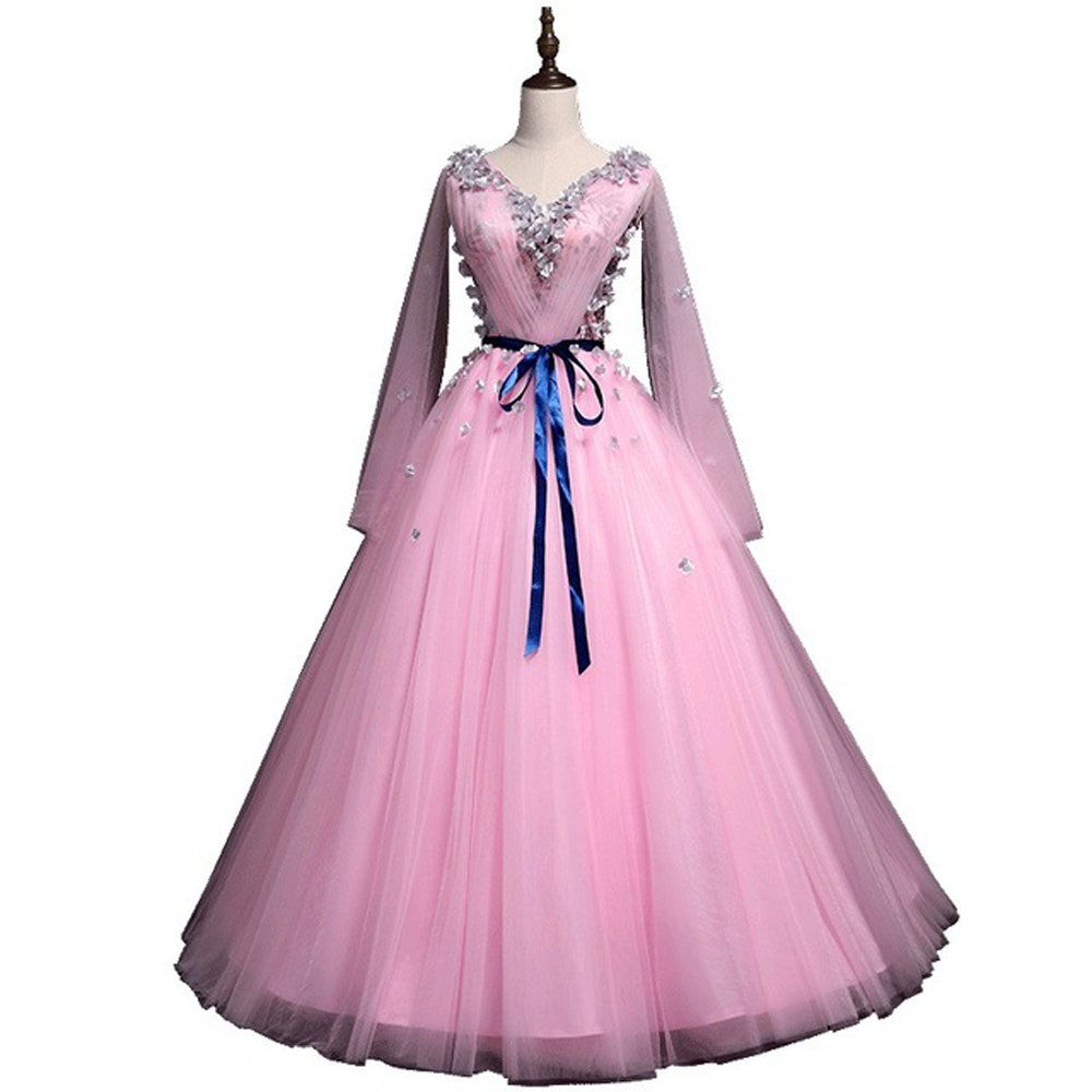 Flower  Pink V-collar Long Sleeves Ball Gown Stage Dress