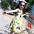 2017 Summer Girls Kids Backless A-line Chiffon Dress Lemon Print Princess Knee High Dresses Baby Children Clothes Party Dresses