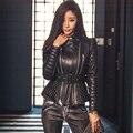 Negro de piel de oveja chaqueta de cuero genuino de las mujeres 2016 corea del diseño de la cremallera oblicua motocicleta ropa de cuero femenina primavera Chaqueta