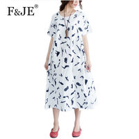 F JE 2017 Summer New Arts Style Women Loose Casual Short Sleeve Long Dress High Quality