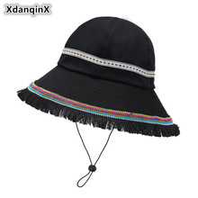 XdanqinX 2019 Spring New Womens Bucket Hats Big Visor Cotton National Wind Caps For Women Novelty Fashion Elegant Beach Hat