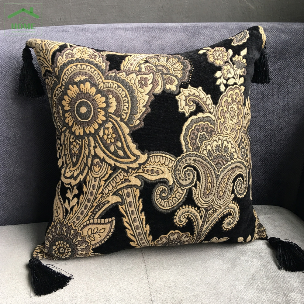 2016 Be Home Fashion Black Chenille Vintage Cushion Cover Tassels Pillow Case Decoration Home Use Pillow Cover 45 x 45 cm