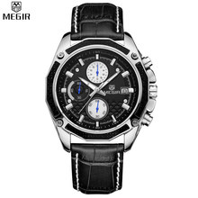MEGIR Men Chronograph Multifunction Water Resistant Black Dial Genuine Leather Watches Military Quartz Watches Relogio Masculino
