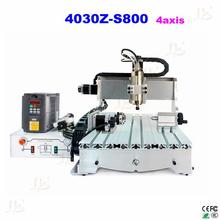 mini cnc milling machine CNC 4030Z S800 4axis engraving wood lathe router for carving metal