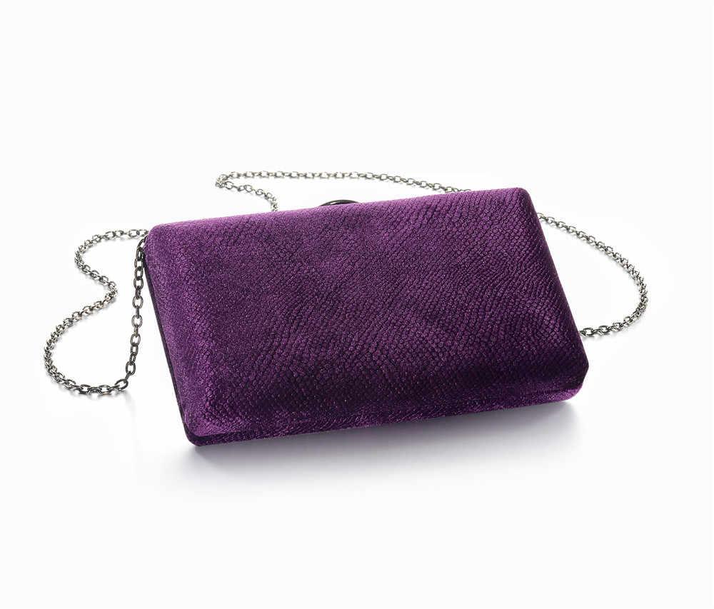 ... Grey Green Navy blue Purple Velvet Fabric Hard Case Box Clutch Bag  Evening ... 6a51a436dc15