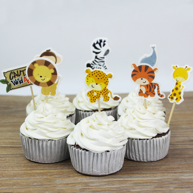 24pcs Party Wild Jungle Animal Cupcake Toppers Picks Birthday Decoration Kids Baby Shower Boy Favors
