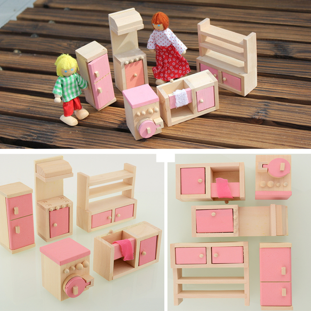 Wooden Doll Kitchen House Dollhouse Miniature Set For Kids