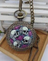 Винтажные бронзовые двойные самоубийцы Розы черепа карманные часы ожерелье подарки на Хэллоуин 10 пицек/Лот Оптовая продажа
