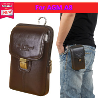 Luxury Genuine Leather Carry Belt Clip Pouch Waist Purse Case Cover For AGM A8 Waterproof Cell